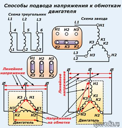 Схема трехфазного двигателя