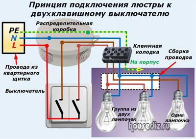 Принцип подключения люстры к двухклавишному выключателю