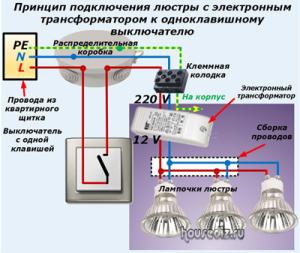 Принцип-подключения-люстры-с-электронным-трансформатором-к-одноклавишному-выключателю