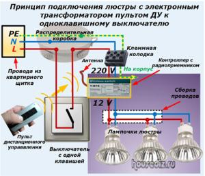 Принцип подключения люстры с электронным трансформатором пультом ДУ к одноклавишному выключателю