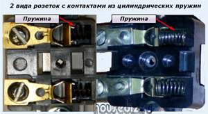 два вида розеток с контактами из цилиндрических пружин