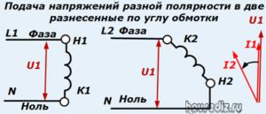 Подача напряжений разной полярности в две разнесенные по углу обмотки