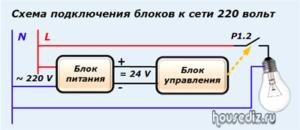 Схема подключения блоков к сети 220 вольт