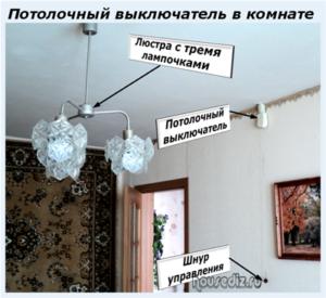 Потолочный выключатель в комнате
