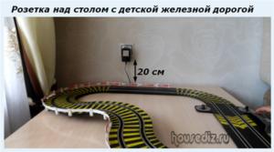 Розетка над столом с детской железной дорогой