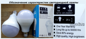 Обозначение характеристик светодиодной лампы