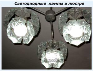 Светодиодные лампы в люстре