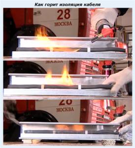 Как горит изоляция кабеля