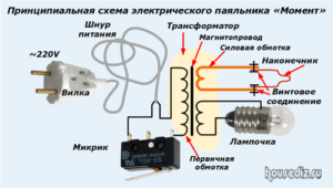 Принципиальная схема электрического паяльника «Момент»