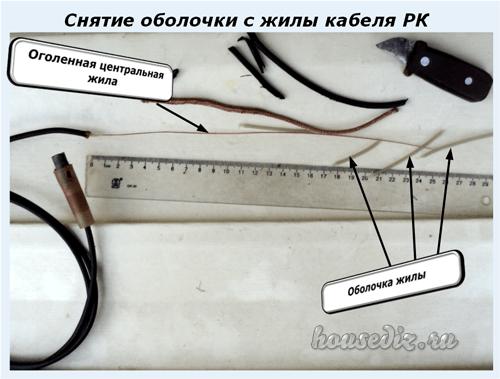Снятие оболочки с жилы кабеля РК