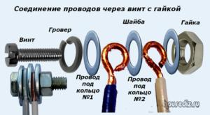 Соединение проводов через винт с гайкой