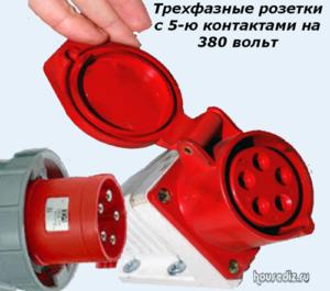 Трехфазные розетки с 5-ю контактами на 380 вольт