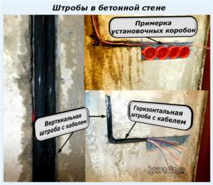 Штробы в бетонной стене