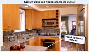 Единая рабочая поверхность на кухне
