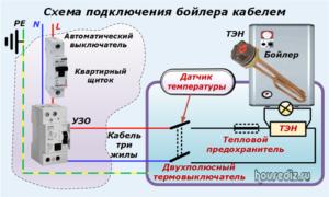 Схема подключения бойлера кабелем