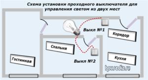 Схема установки проходного выключателя для управления светом из двух мест