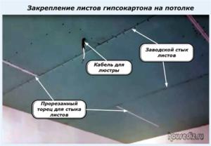 Закрепление листов гипсокартона на потолке