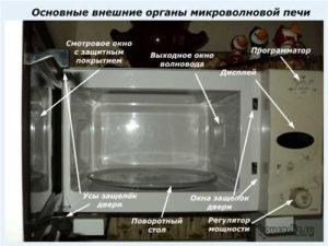 Основные внешние органы микроволновой печи