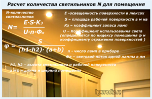 Расчет количества светильников N для помещения
