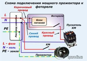 Схема подключения мощного прожектора к фотореле