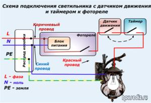 Схема подключения светильника с датчиком движения и таймером к фотореле