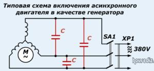 Типовая схема включения асинхронного двигателя в качестве-генератора