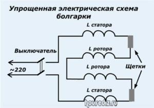 Упрощенная электрическая схема болгарки