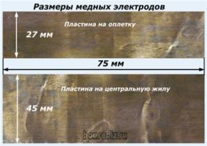 Размеры медных электродов