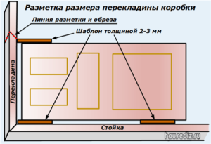 Разметка размера перекладины коробки