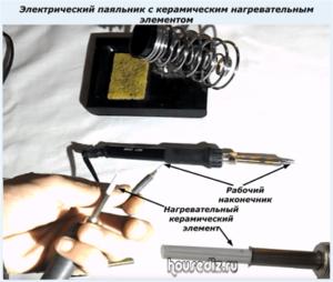 Электрический паяльник с керамическим нагревательным элементом