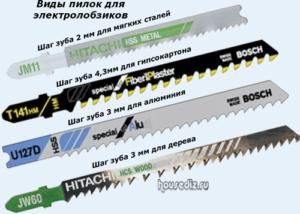Виды пилок для электролобзиков