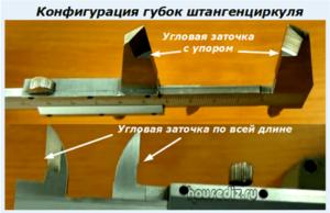 Конфигурация губок штангенциркуля