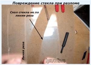 Повреждение стекла при разломе