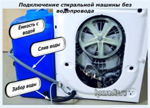 Подключение стиральной машины без водопровода
