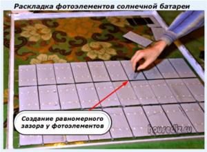 Раскладка фотоэлементов солнечной батареи