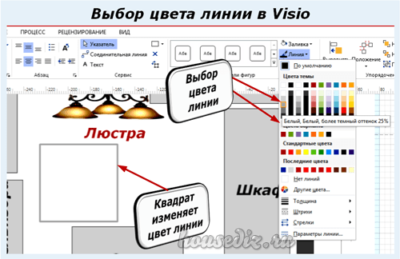 Выбор цвета линии в Visio