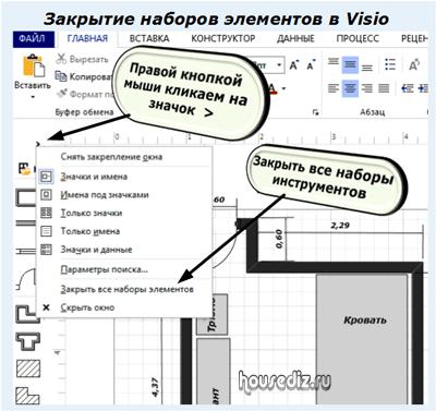 Закрытие наборов элементов в Visio