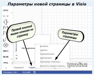 Параметры новой страницы в Visio