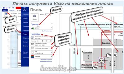 Печать документа Visio на нескольких листах