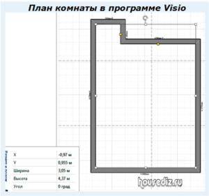 План комнаты в программе Visio