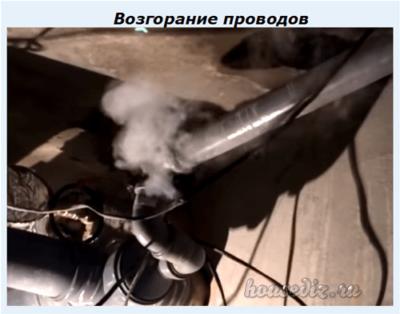 Возгорание проводов