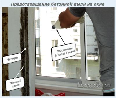 Предотвращение появления бетонной пыли на окне
