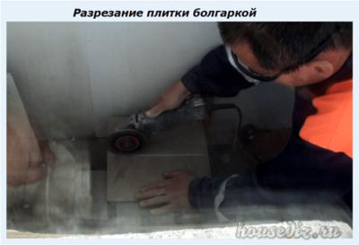 Разрезание плитки болгаркой