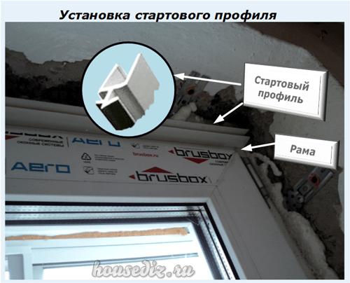 Отделка и откосы на окно ПВХ и дверь кухни с фото отчетом Дизайн  Установка стартового профиля