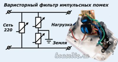 Варисторный фильтр импульсных помех