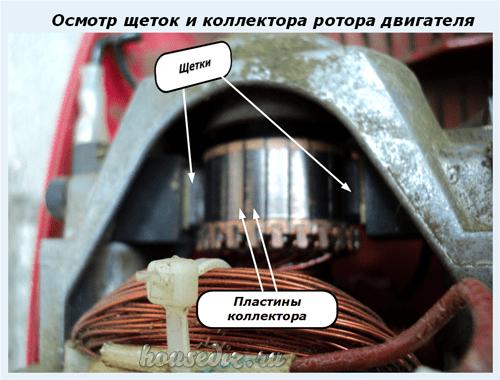 Осмотр щеток и коллектора ротора двигателя