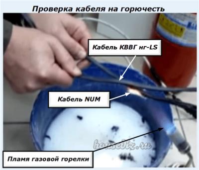 Проверка кабеля на горючесть