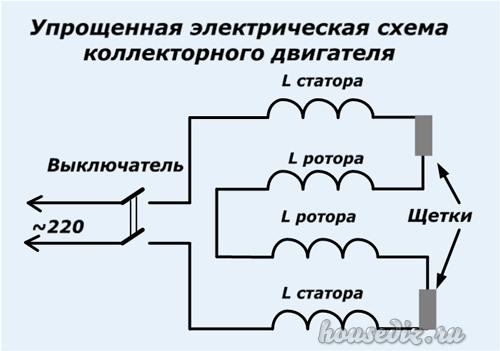 Упрощенная электрическая схема электродвигателя