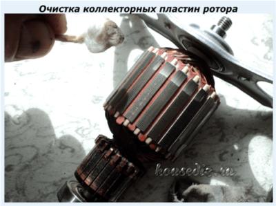 Очистка коллекторных пластин ротора