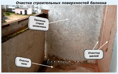 Очистка строительных поверхностей балкона